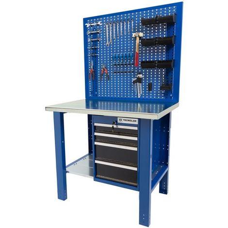 Banco da lavoro Werkmeister 1000 4 cassetti laterali pannello portautensili