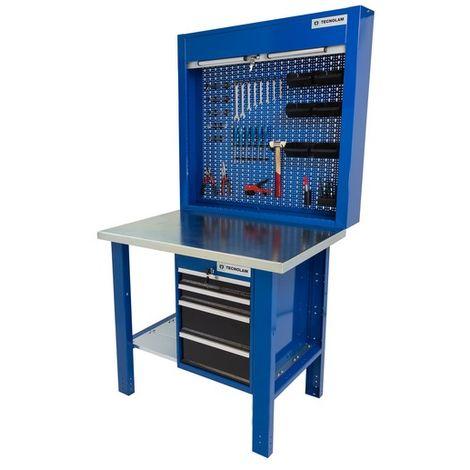 Banco da lavoro Werkmeister 1000 4 cassetti laterali pannello pratico portautensili con chiusura