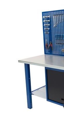 Banco da lavoro Werkmeister 1500- cassettone con anta basculante-Pannello postriore linea profi