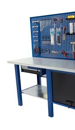 Banco da lavoro Werkmeister 2000/ cassettone con anta basculante 1 cassetto pannello posteriore linea profi