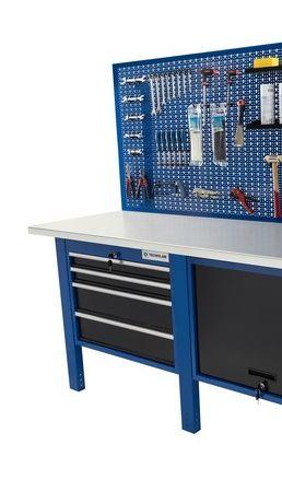 Banco da lavoro Werkmeister 2000/ cassettone con anta basculante 4 Cassetti (720*615*565) pannello linea profi