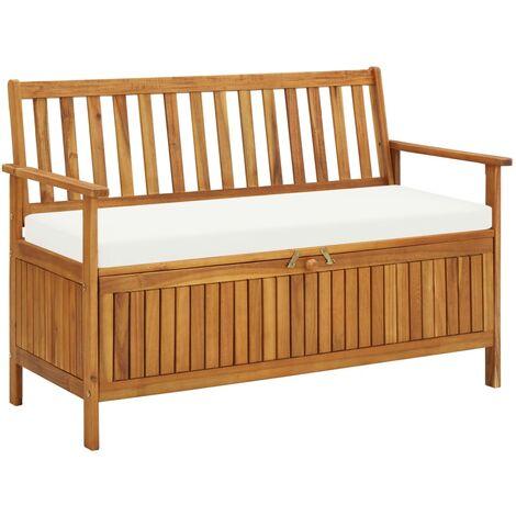 Banco de almacenaje de jardín madera maciza acacia 120x63x84 cm