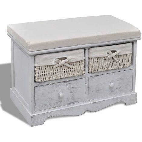 Banco de almacenaje de madera de Paulownia blanco 62x33x42 cm