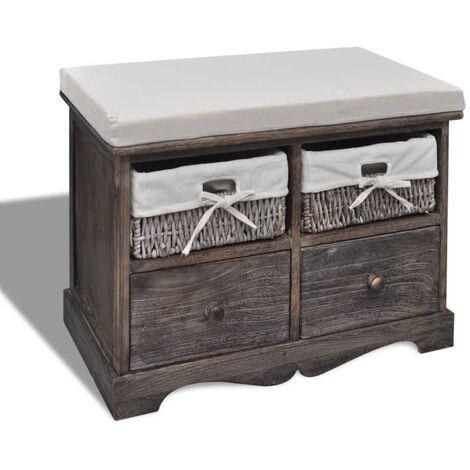 Banco de almacenaje de madera de Paulownia marrón 62x33x42 cm