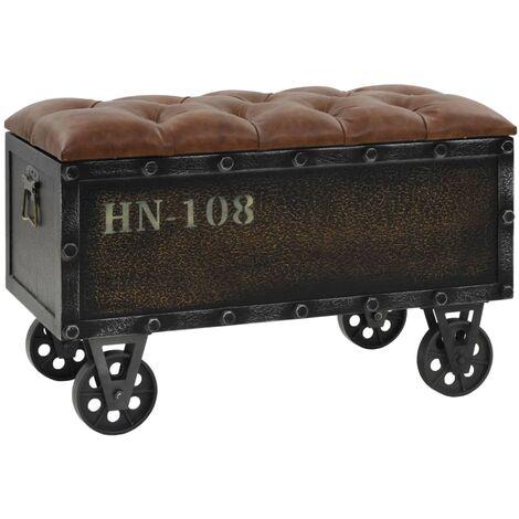 Banco de almacenaje madera maciza y piel sintetica 80,5x41x50cm
