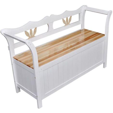 Banco de almacenamiento madera blanco 126x42x75 cm