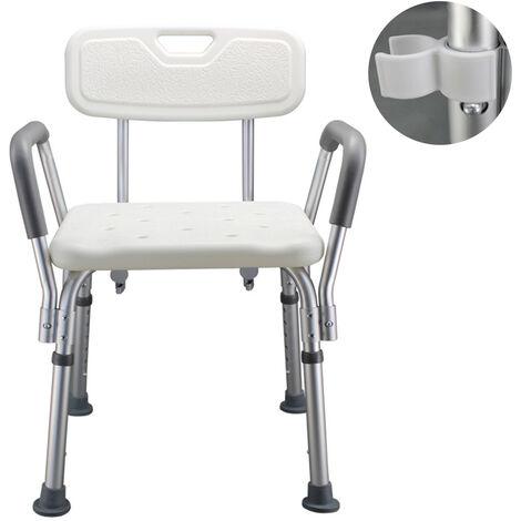 Banco de ducha para bano, con respaldo y brazos ajustables, para personas mayores embarazadas discapacitadas