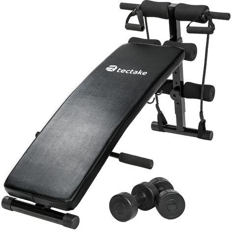 Banco de entrenamiento con 2 pesas y 2 cuerdas, plegable - banco de gimnasio, banco para ejercicio, banco de musculación - negro