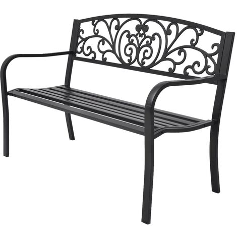 Banco de jardín 127 cm hierro fundido negro