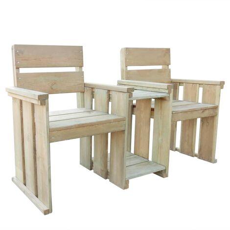 Banco de jardín 2 asientos 150 cm madera de pino impregnada - Marrón