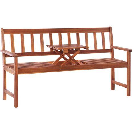 Banco de jardín 3 plazas con mesa 158 cm madera acacia maciza
