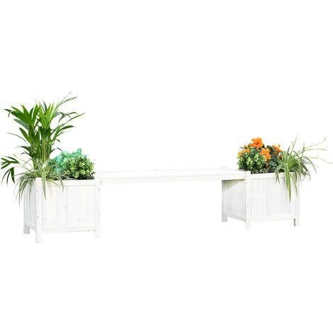 Banco de jardín Banco de madera Blanco 2en1 Caja para flores 2 tarros de flores Muebles de jardín