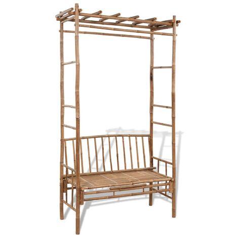 Banco de jardín con pérgola 130 cm bambú