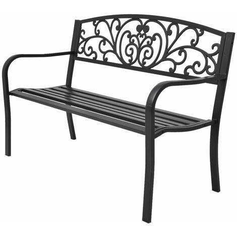 Banco de jardín de hierro fundido negro 127 cm