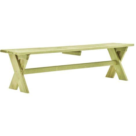 Banco de jardín de madera de pino impregnada 170 cm