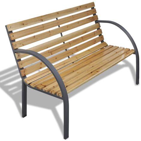 Banco de jardín de madera y hierro 120 cm