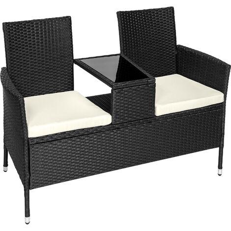 Banco de jardín de poli ratán con mesa - mueble de exterior de poli ratán, muebles de ratán sintético con cojines y fundas, asientos de jardín con estructura de acero