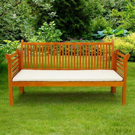 Banco de jardín madera de pino crema 3 plazas con cojín para terraza y patio