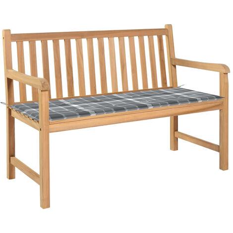 Banco de jardin madera de teca con cojin a cuadros gris 120 cm