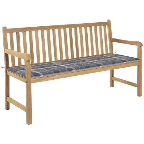 Banco de jardin madera de teca con cojin a cuadros gris 150 cm