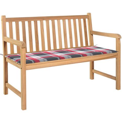 Banco de jardin madera de teca con cojin a cuadros rojo 120 cm