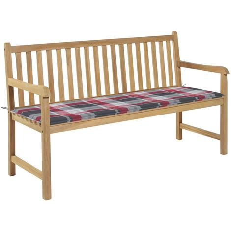 Banco de jardin madera de teca con cojin a cuadros rojo 150 cm