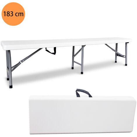 Banco de Plástico Resistente, Banco Plegable Portátil, 183 x 43 x 30 cm, Blanco, Plegable por la mitad, Capacidad de asientos: 2 a 4 personas por banco