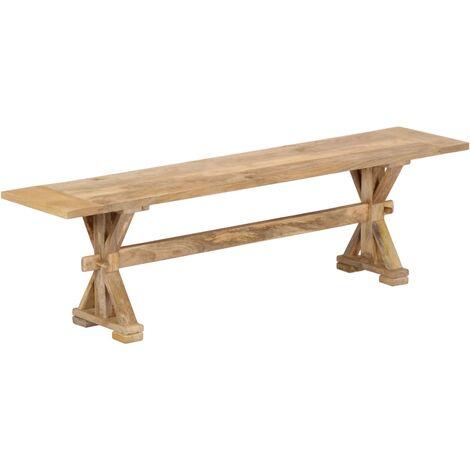Banco de recibidor madera maciza de mango 160x35x45 cm - Marrón
