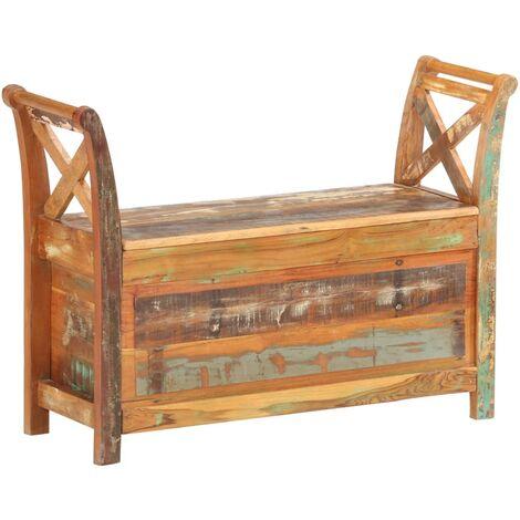 Banco de recibidor madera maciza reciclada 103x33x72 cm - Marrón