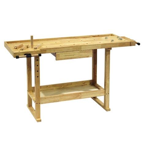 Banco de trabajo 145x49x86cm de madera (Rubberwood) con estante y pinzas de sujeción para talleres
