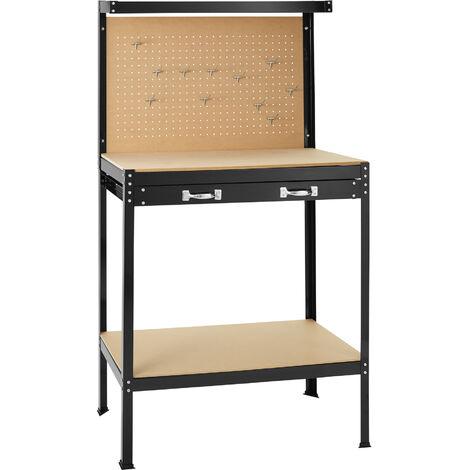 Banco de trabajo con cajón - banco de trabajo universal, banco carpintero con panel superior perforado, banco para bricolaje de acero y madera