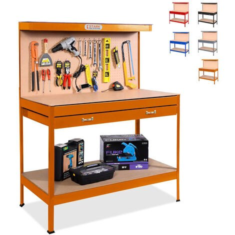 Banco de trabajo con tablero de clavijas y cajón para garaje taller Max 120x60x150 cm