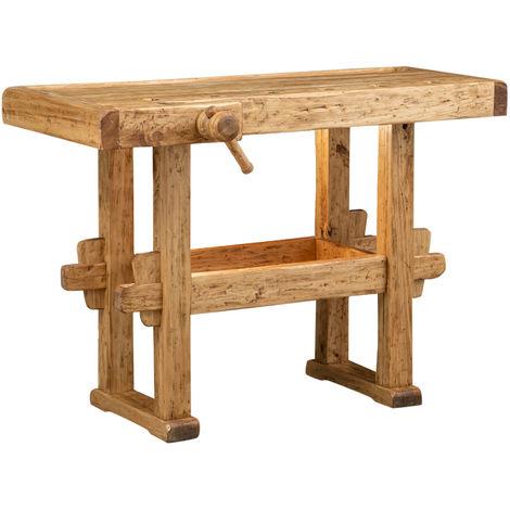 Banco de trabajo de estilo Country de madera maciza de tilo acabado con efecto natural L126xPR69xH90 cm