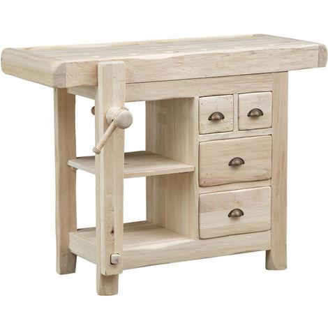 Banco de trabajo de estilo Country de madera maciza de tilo cruda L116xPR63xH90 cm