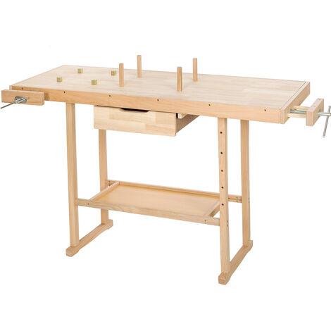 Banco de trabajo de madera con tornillos de banco modelo 2 - banco de taller con ganchos, banco carpintero con tornillos de banco laterales, banco para bricolaje de madera - marrón
