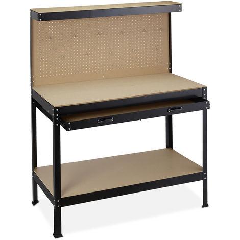 Banco de trabajo, Panel para colgar herramientas, Mesa de bricolaje, Acero, 151 x 120 x 60 cm, 1 Ud. Negro