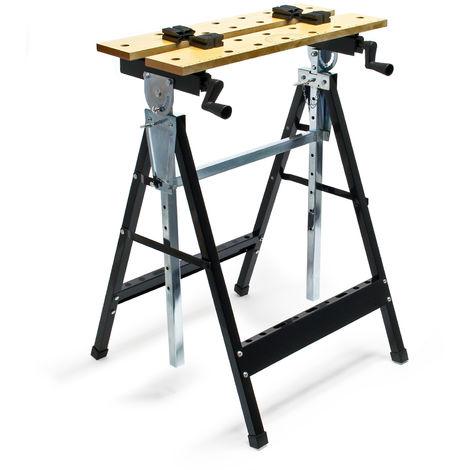 Banco de trabajo plegable 62,5x60,5x(84,5-115,5)cm con estante para herramientas ideal para talleres