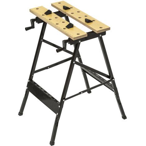 Banco de trabajo plegable de acero y madera - banco de taller con mordazas, banco carpintero con tablero de trabajo resistente, banco para bricolaje de acero y madera - negro