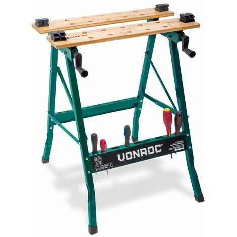 Banco de trabajo VONROC plegable con una capacidad de carga de hasta 150 kg – Provisto de un tablero de bambú