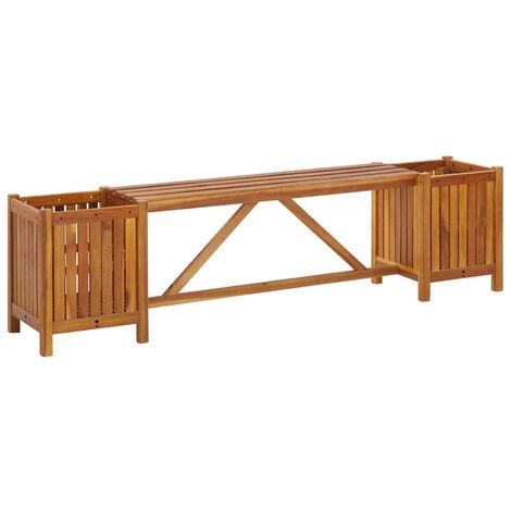 Banco jardin con 2 maceteros madera maciza acacia 150x30x40 cm
