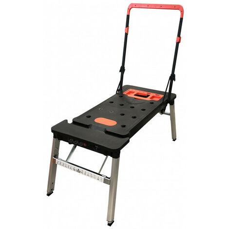 Banco mesa de trabajo 7 funciones convertible en camilla de mecánico para taller con 3 enchufes 16A y patas telescópicas