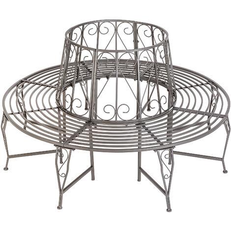 Banco para árbol 360° de acero - banco circular para árbol, banca redonda de acero elegante para jardín, banquito en círculo para sentarse a la sombra - antracita