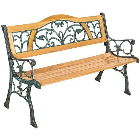 Banco para jardín de madera Kathi - banco de exterior para terraza, banquito de madera natural lacada para patio, banca para porche de hierro fundido - marrón