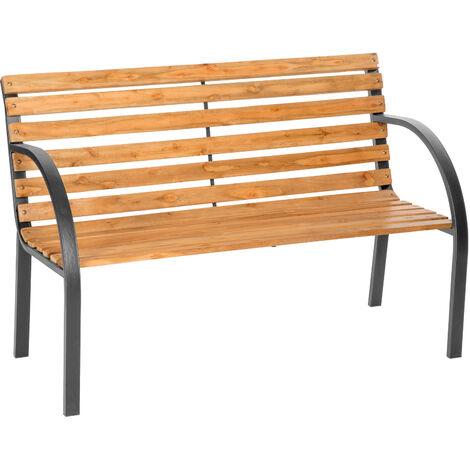 Banco para jardín de madera Micha - banco de exterior para terraza, banquito de madera natural lacada para patio, banca para porche de acero - marrón