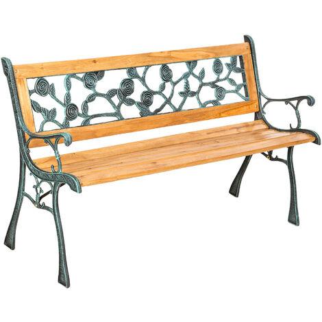 Banco para jardín de madera y hierro fundido Marina - banco de exterior para terraza, banquito de madera natural lacada para patio, banca para porche con decoración lateral - marrón