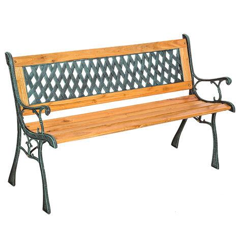 Banco para jardín de madera y hierro fundido Tamara - banco de exterior para terraza, banquito de madera natural lacada para patio, banca para porche con decoración lateral - marrón