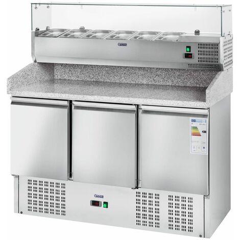 Banco per pizza con vetrina refrigerata - 411 L - Piano di lavoro in granito - 3 ante