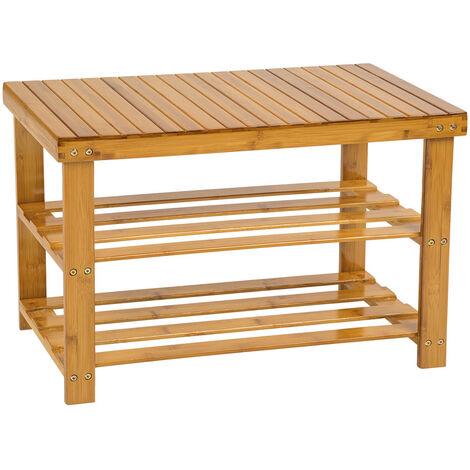 Banco zapatero 2 baldas de bambú - mueble zapatero de madera, armario zapatero con asiento y estantes, estructura para guardar zapatos - marrón