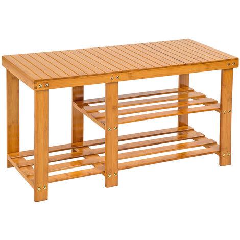 Banco zapatero de bambú con 2 baldas y compartimento botas - mueble zapatero de madera, armario zapatero con asiento y estantes, estructura para guardar zapatos - marrón