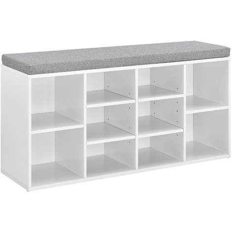 Banco zapatero - zapatero tapizado - 103 x 30 x 48 cm - Blanco / Gris - 10 compartimentos